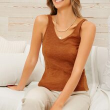 Solid Double V-neck Tank Top