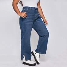 Jeans mit seitlichem Schlitz und hoher Taille