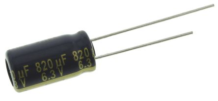 Panasonic 820μF Electrolytic Capacitor 6.3V dc, Through Hole - EEUFC0J821L (5)
