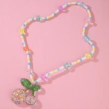 Girls Cherry Charm Beaded Necklace