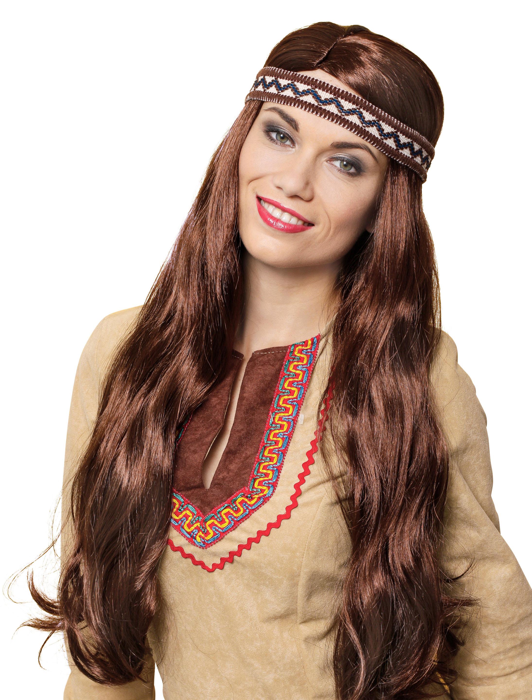 Kostuemzubehor Peruecke Indianer/in Yuma braun