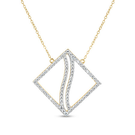18K Gold over Silver 3-in-1 Cubic Zirconia Square Wave Necklace, One Size , No Color Family