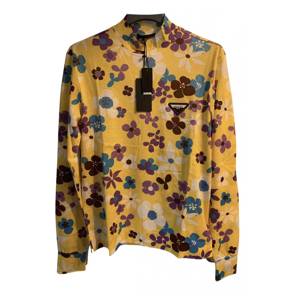 Prada - Tee shirts   pour homme en coton - jaune