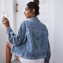 Drop Shoulder Butterfly Print Denim Jacket