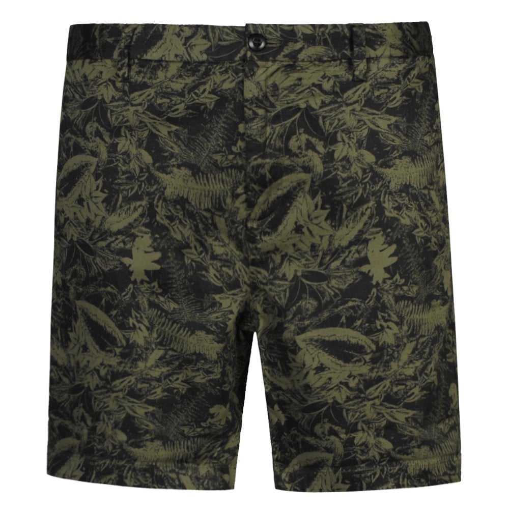 Replay Classic Floral Pattern Chino Shorts Size: 38, Colour: GREEN