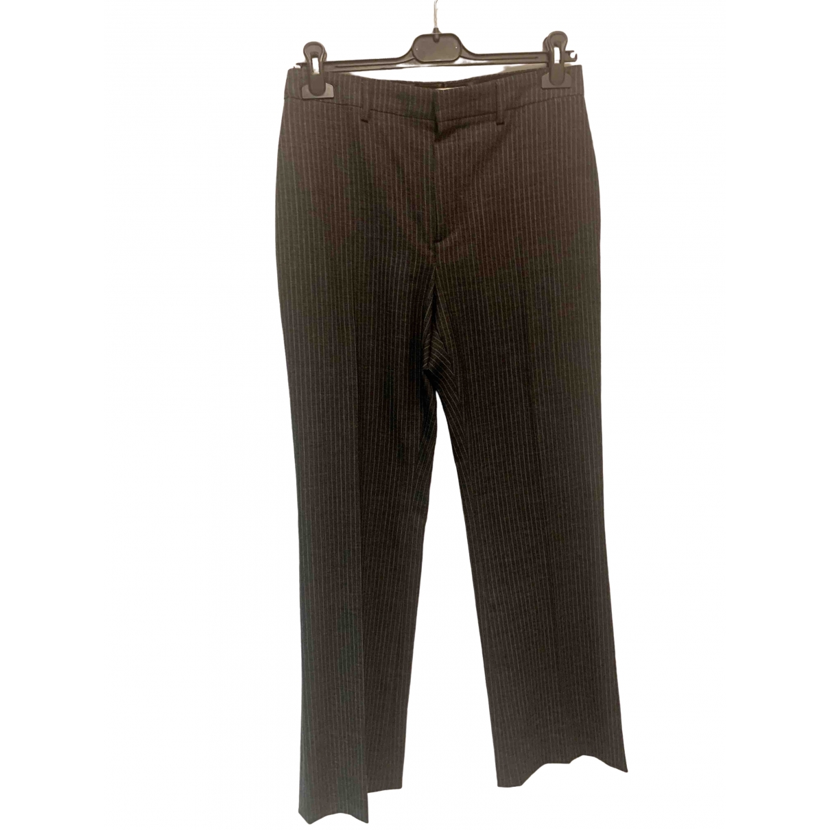 Celine \N Anthracite Wool Trousers for Women 38 FR