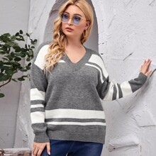 Plus Color-block V-neck Sweater