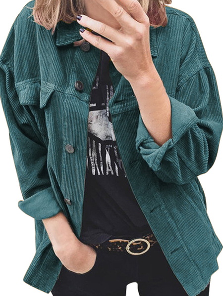 Yoins Corduroy Button Design Classic Collar Long Sleeves Blouse