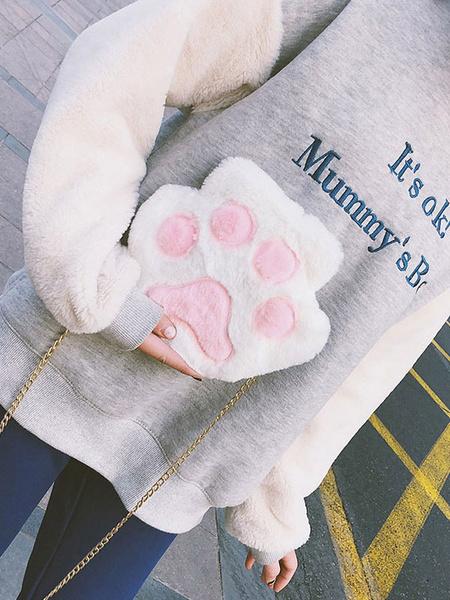 Milanoo Sweet Lolita Chain Bag Faux Fur Bear Paw Lolita Shoulder Bag