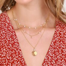 Layered Mini Pearl And Coin Pendant Necklace