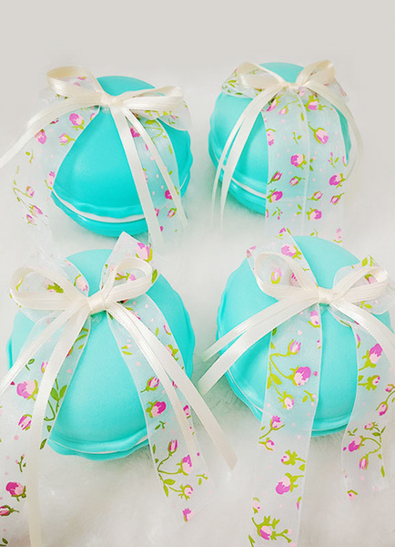 Milanoo Wedding Favor Boxes Floral Ribbon Bow Round Small Gift Boxes
