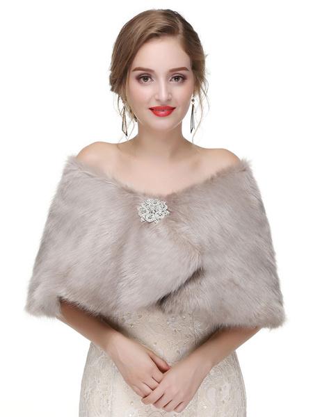 Milanoo Wedding Wrap Coffee Brown Sleeveless Faux Fur Bridal Cover Ups