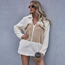 Zip Up Two Tone Teddy Coat