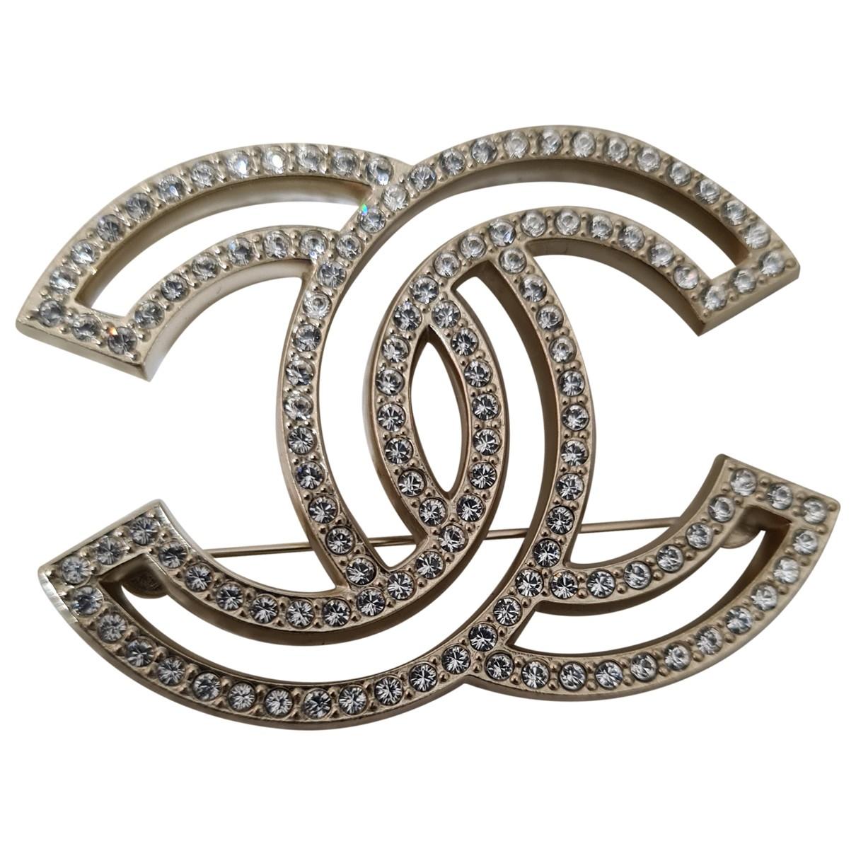Chanel - Broche CC pour femme en metal - dore