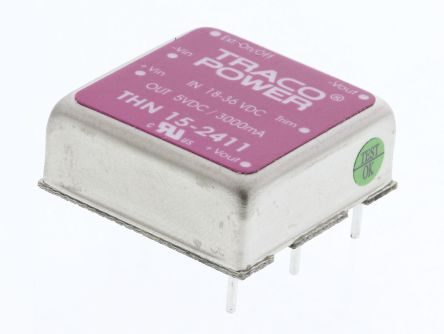 TRACOPOWER THN 15 15W Isolated DC-DC Converter Through Hole, Voltage in 18 → 36 V dc, Voltage out 5V dc