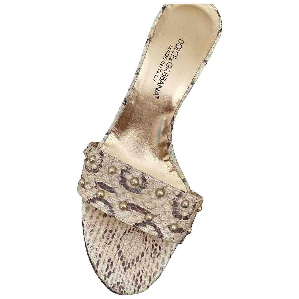 Dolce & Gabbana - Sandales   pour femme en serpent deau - beige