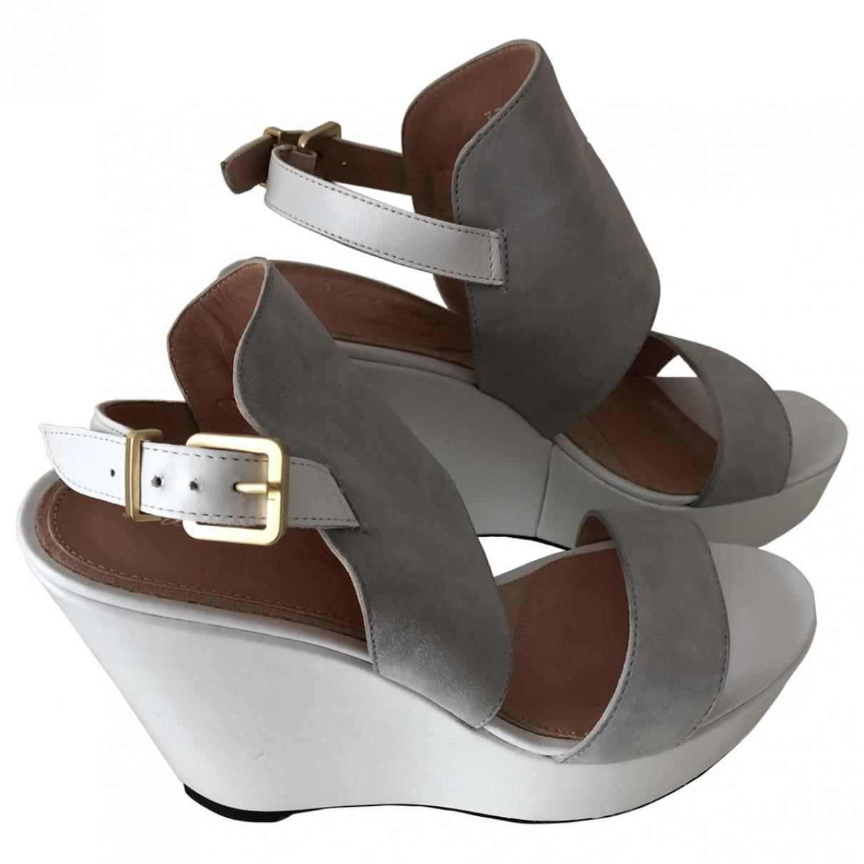 Robert Clergerie \N Grey Suede Sandals for Women 37.5 EU