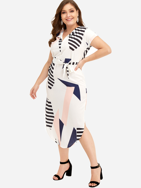 Yoins Plus Size Geometric Pattern Self-tie Midi Dress