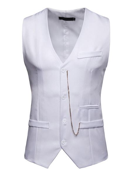 Milanoo Men Suit Vest V Neck Tuxedo Button Up Metallic Chain Cotton Waistcoat