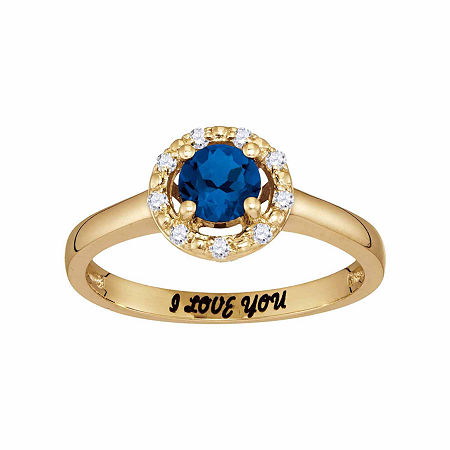 Personalized Simulated Birthstone & Cubic Zirconia Halo Ring, 8 , Yellow