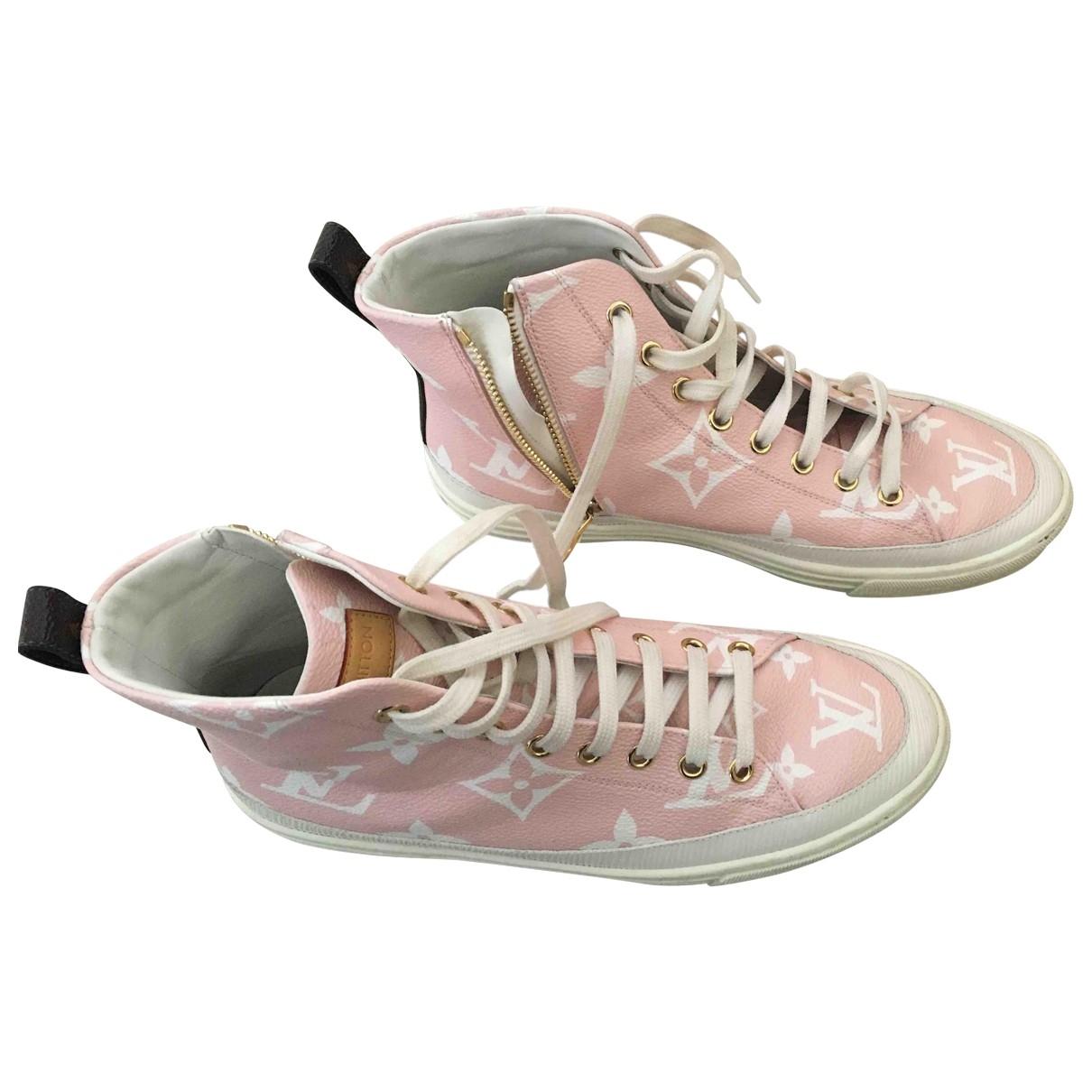 Louis Vuitton - Baskets Stellar pour femme en toile - dore