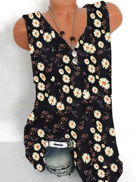 Milanoo Light Sky Blue Daisy Cami Top con cuello en V Poliester Casual Impreso Mujeres Camis