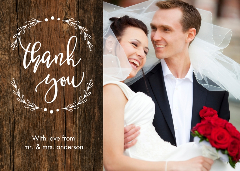 Wedding Thank You 5x7 Folded Cards, Standard Cardstock 85lb, Card & Stationery -Thank You Woodgrain Branches