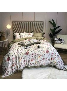 60s High Quality Olive Green Floral Luxury And Healthy 4-Piece Tencel Bedding Sets/Duvet Cover