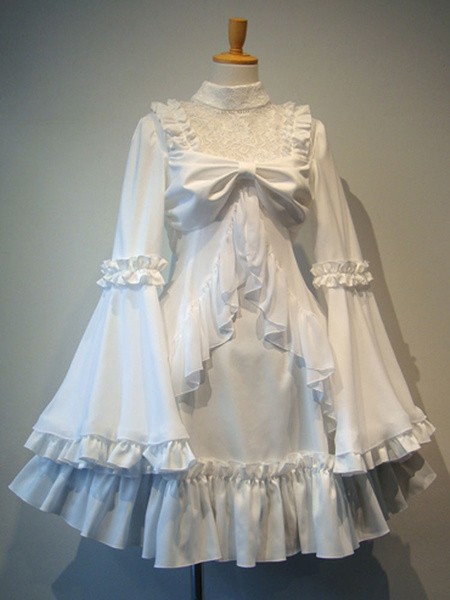 Milanoo Gothic Lolita OP Dress White Ruffles Lolita One Piece Dresses