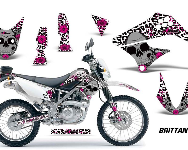 AMR Racing Dirt Bike Graphics Kit Decal Sticker Wrap For Kawasaki KLX125 2010-2016áBRITTANY PINK WHITE