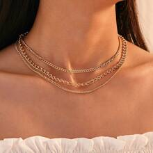 Halskette mit mehrschichtigen Ketten 1 Stueck