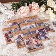 60 Stuecke zufaelliger Aufkleber mit Blumen Muster & 10 Stuecke Materialpapier