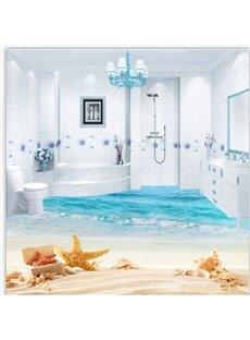 3D Starfish and Sea Scenery PVC Waterproof Eco-friendly Non-slip Self-Adhesive Floor Murals