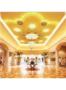 3D Golden Flowers PVC Waterproof Sturdy Eco-friendly Self-Adhesive Ceiling Murals
