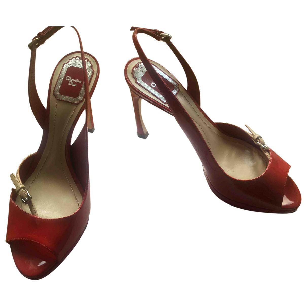 Dior - Sandales   pour femme en cuir verni - rouge