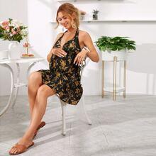 Maternidad vestido halter floral de cintura fruncido de espalda abierta con cordon