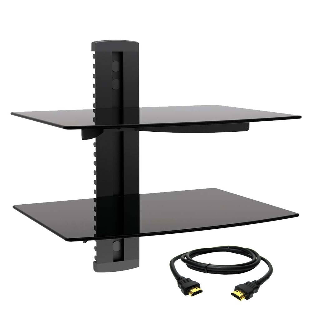 MegaMounts Multipurpose Double Shelf Wall Mount with HDMI Cable (Black)