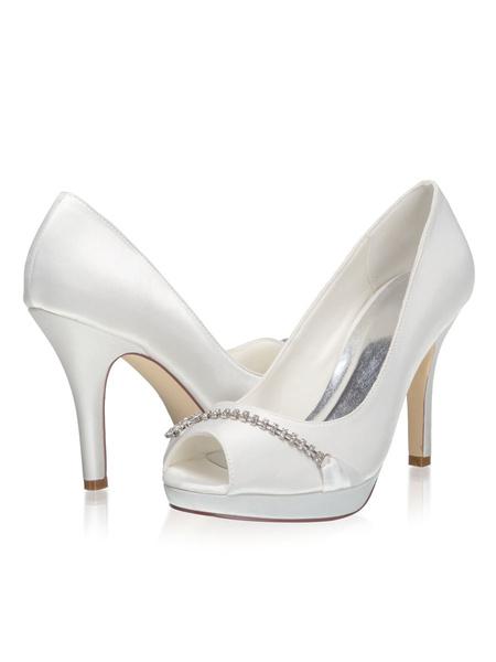 Milanoo Peep Toe Wedding Pumps Stiletto Heel Bridal Shoes