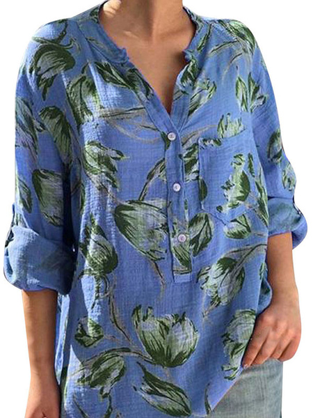 Milanoo Blouse For Women Blue 3/4 Length Sleeves V-Neck Casual Floral Buttons Printed Tops