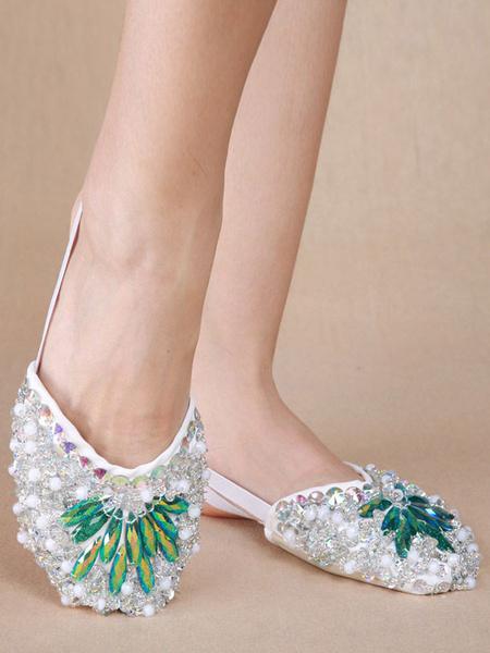 Milanoo Zapatos de danza del vientre Zapatillas plateadas Bling Bling Calzado de danza