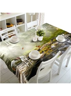 White Horse Drinking Water by the River Prints Washable 3D Tablecloth