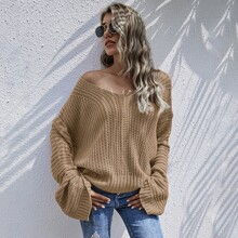 Drop Shoulder Chunky Knit Oversize Sweater
