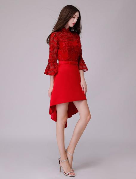 Milanoo Cocktail Dresses Half Sleeve Asymmetrical Lace Satin Patchwork Formal Party Dress