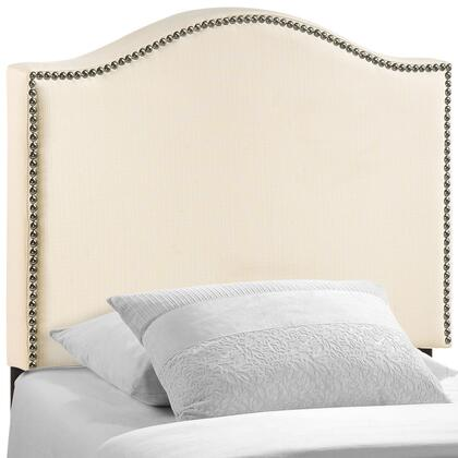 Curl Collection Headboard with Nail Head Trim  Curve Design  Solid Wood Frame Construction and Fabric Upholstery in Ivory