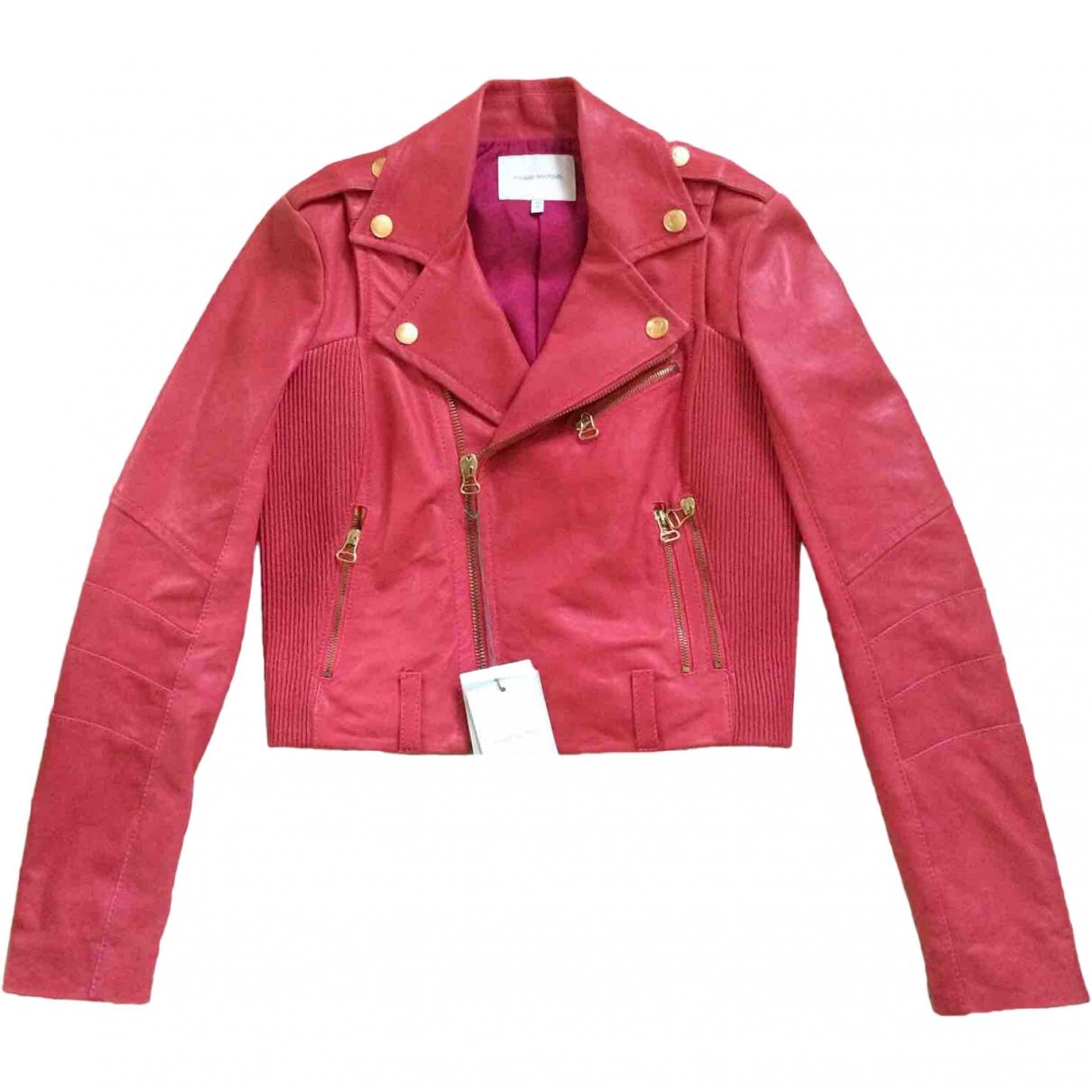 Pierre Balmain - Veste   pour femme en cuir - rose