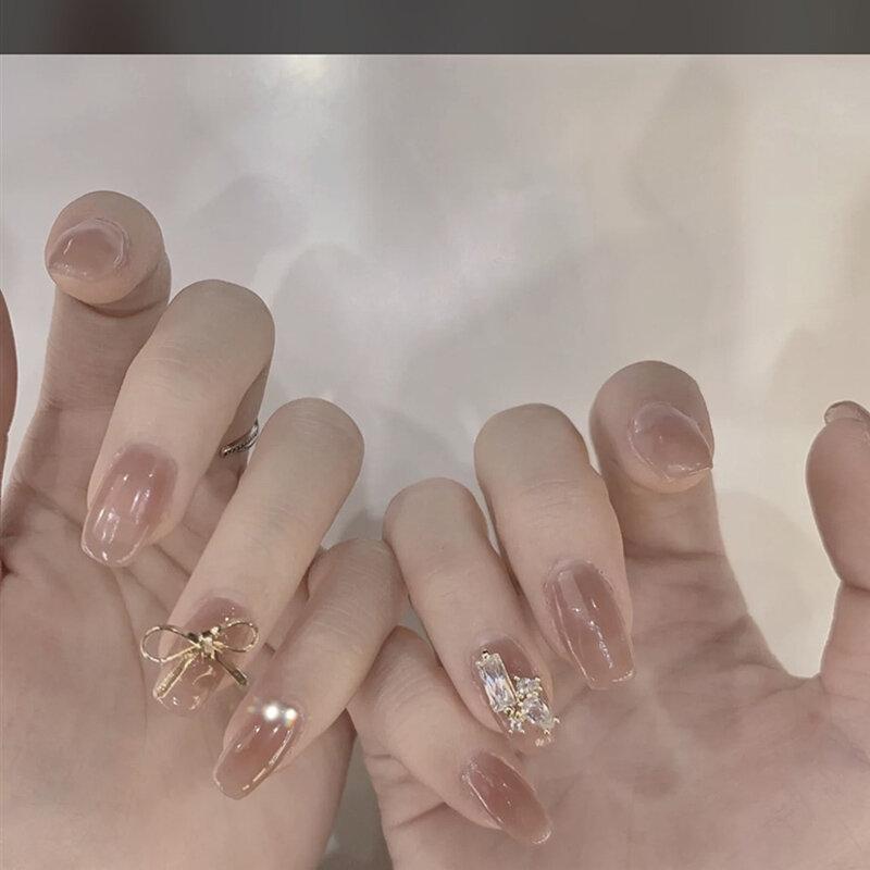 24Pcs/Box Rice Gold Bow Fake Nails Wear Manicure Stickers DetachableFinished Nail