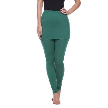 White Mark Skirted Womens Mid Rise Legging, Medium , Green