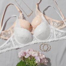 2pack Floral Lace Underwire Bra Set
