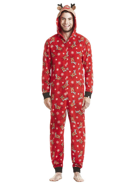Milanoo Family Christmas Pajamas Christmas Pattern Red Family Sleepwear Jumpsuit