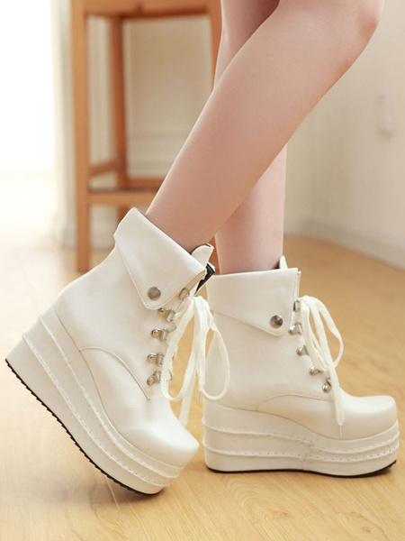 Milanoo Gothic Lolita Boots Wedge White Lace Up Round Toe PU Leather Lolita Footwear